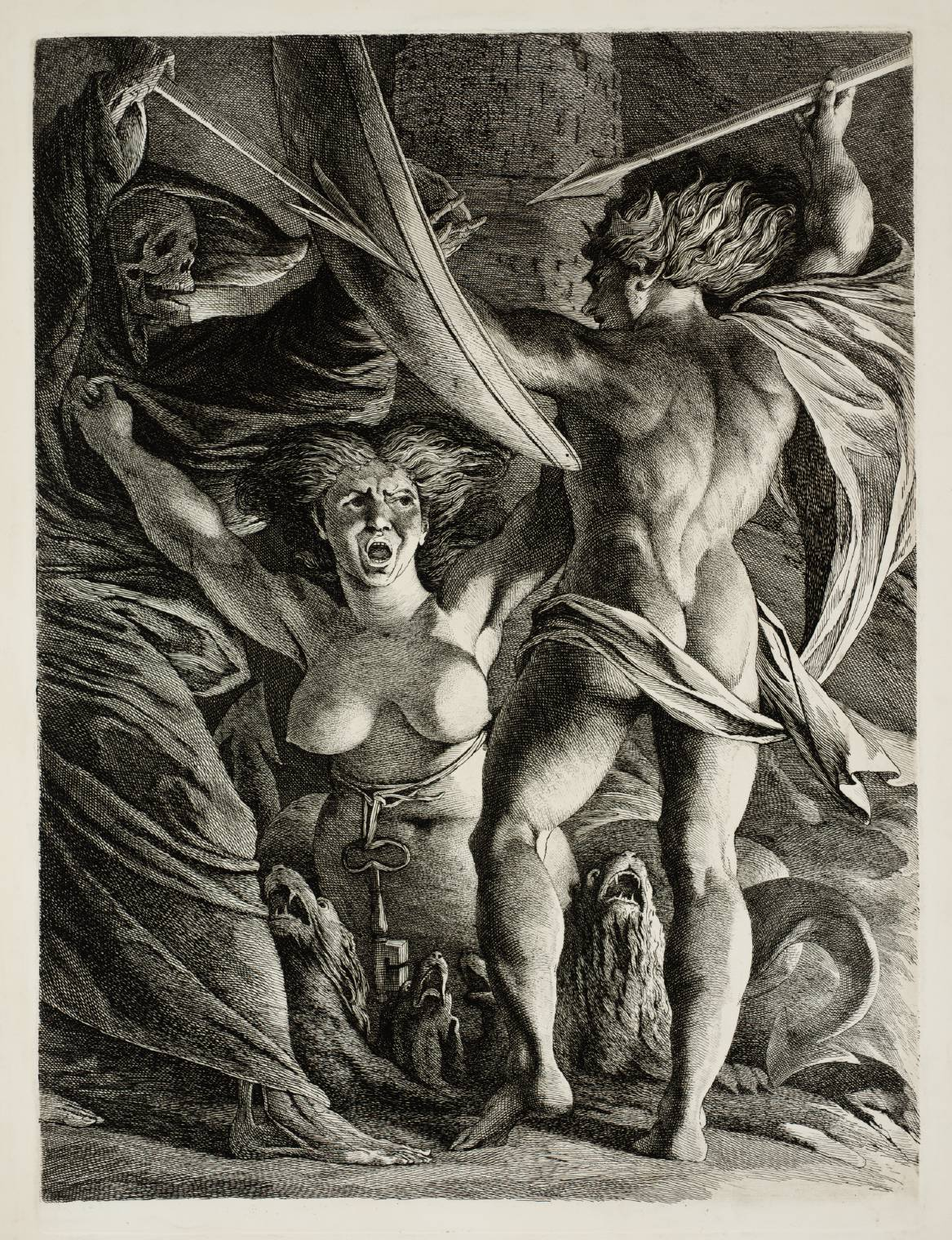 Satan, Sin and Death circa 1792-1808 by James Barry 1741-1806
